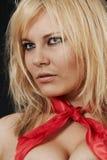 Ragazza maestosa in una sciarpa rossa Immagini Stock Libere da Diritti