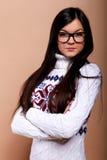 Ragazza in maglione caldo Fotografie Stock