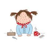 Ragazza malata con varicella, il morbillo, il rubeola o le chiazze cutanee illustrazione vettoriale