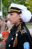 Ragazza in marinaio Victory Day crlrbrating uniforme, Odessa, Ucraina Fotografia Stock