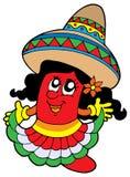 Ragazza messicana sveglia dei peperoncini rossi illustrazione vettoriale