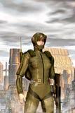 Ragazza militare futuristica illustrazione di stock