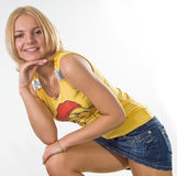Ragazza in miniskirt Fotografie Stock