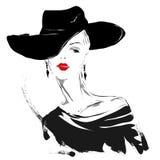 Ragazza moderna, schizzo, labbra rosse, fondo bianco, acconciatura alla moda Fotografie Stock