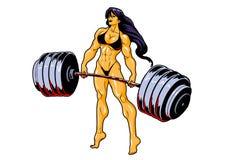 Ragazza muscolare di forma fisica in bikini con il bilanciere illustrazione di stock