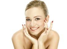 Ragazza naturale di bellezza con i buoni sorrisi della pelle Fotografie Stock