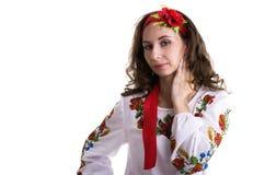 Ragazza nei vestiti nazionali ucraini isolati su bianco Immagini Stock