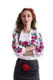 Ragazza nei vestiti nazionali ucraini isolati su bianco Immagine Stock