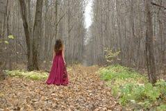 Ragazza nel camminare rosso del vestito Fotografia Stock Libera da Diritti
