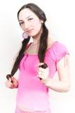Ragazza nel colore rosa Fotografie Stock