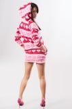 Ragazza nel colore rosa hoody Fotografia Stock