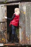 Ragazza nel colore rosso Fotografia Stock