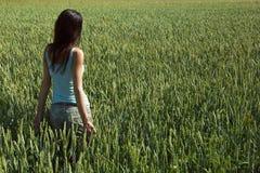 Ragazza nel giacimento di grano verde non maturo Immagine Stock