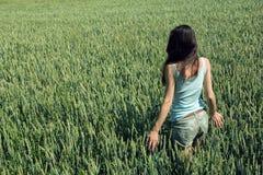 Ragazza nel giacimento di grano verde non maturo Fotografie Stock