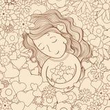 Ragazza nel giardino royalty illustrazione gratis