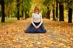 Ragazza nel parco in autunno Immagini Stock Libere da Diritti