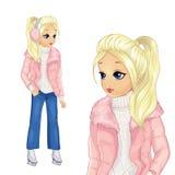 Ragazza nel pattinare rosa dei jeans e del rivestimento illustrazione vettoriale
