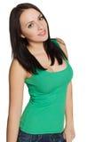 Ragazza nel sorridere verde della camicia Immagini Stock Libere da Diritti
