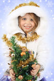 Ragazza nel vestito di una ragazza della neve Fotografie Stock