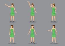 Ragazza nell'illustrazione verde del carattere di vettore del vestito Fotografie Stock Libere da Diritti