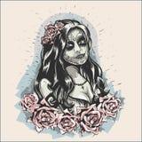 Ragazza nell'immagine di Dia De Los Muertos Tattooed Lady di trucco Fotografie Stock Libere da Diritti