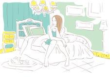 Ragazza nella camera da letto Immagine Stock