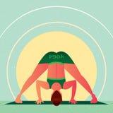 Ragazza nella curvatura di andata diritta grandangolare di yoga royalty illustrazione gratis