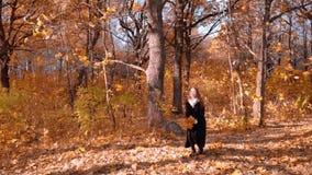 Ragazza nella foresta di autunno stock footage