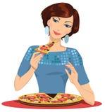 Ragazza nella pizzeria Fotografia Stock Libera da Diritti