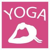 Ragazza nella posizione di yoga Siluetta femminile bianca su fondo rosa Fotografie Stock Libere da Diritti