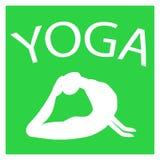 Ragazza nella posizione di yoga Siluetta femminile bianca su fondo verde Immagini Stock Libere da Diritti