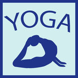 Ragazza nella posizione di yoga Siluetta femminile Icona di forma della donna di vettore Immagini Stock
