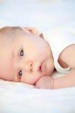 Ragazza neonata sveglia che si trova a letto Fotografie Stock