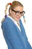 Ragazza nerd felice fotografia stock