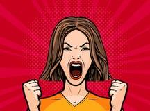 Ragazza o giovane donna che grida alto fuori Retro stile comico di Pop art Illustrazione di vettore del fumetto royalty illustrazione gratis