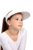 Ragazza in parte superiore e cappello di tennis immagini stock