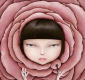 Ragazza in petalo di rosa illustrazione vettoriale