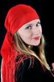 Ragazza piacevole in bandana rosso Fotografie Stock Libere da Diritti