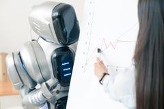 Ragazza piacevole che mostra grafico al robot Immagine Stock