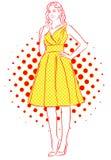 Ragazza piacevole che sorride in vestito giallo Illustrazione dell'annata Immagine Stock Libera da Diritti