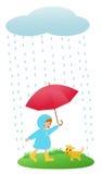 Ragazza in pioggia illustrazione vettoriale