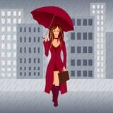 Ragazza in pioggia Fotografia Stock Libera da Diritti