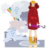 Ragazza in pioggia di autunno Fotografia Stock