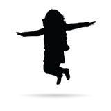 Ragazza poca siluetta di vettore di salto Fotografie Stock Libere da Diritti