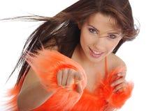 Ragazza pon pon in costume arancione immagini stock libere da diritti