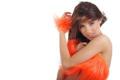 Ragazza pon pon in costume arancione Fotografia Stock Libera da Diritti