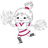 Ragazza pon pon del fumetto illustrazione vettoriale