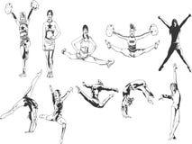 Ragazza pon pon e ginnaste in bianco e nero Fotografia Stock Libera da Diritti