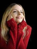 Ragazza in ponticello rosso Fotografia Stock