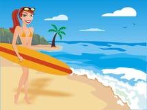 Ragazza praticante il surfing fotografia stock